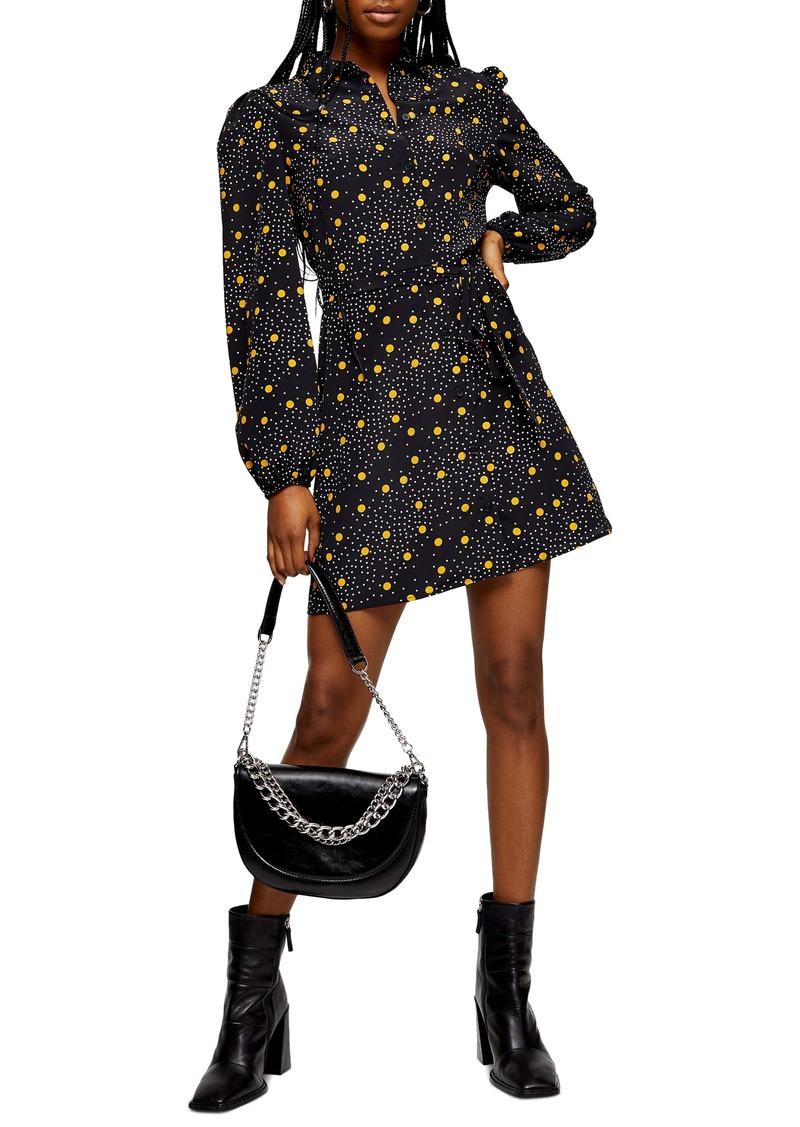 Topshop Polka Dot Long Sleeve Minidress