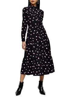Topshop Polka Dot Long Sleeve Shirtdress