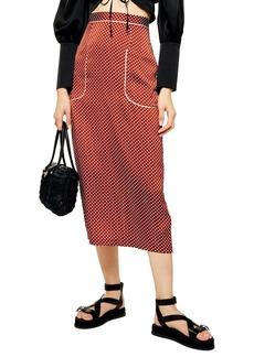 Topshop Polka Dot Midi Skirt
