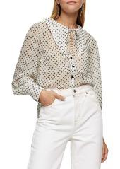 Topshop Polka Dot Oversize Collar Long Sleeve Blouse