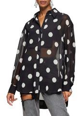 Topshop Polka Dot Sheer Oversize Blouse