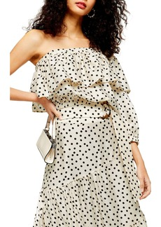 Topshop Polka Dot Tiered Midi Skirt