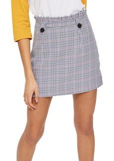 Topshop Pop Check Frill Waist Miniskirt
