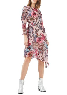 Topshop Pop Floral Ruffle Midi Dress