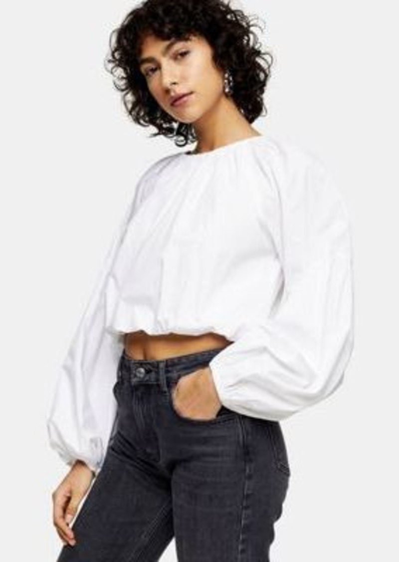 Topshop poplin cropped blouse with bubble hem in white