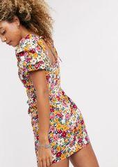 Topshop poplin mini tea dress in floral print
