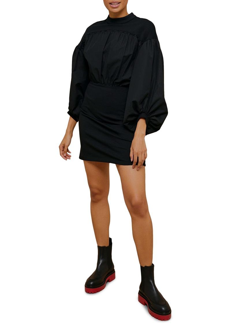 Topshop Poplin Mix Drama Sleeve Minidress