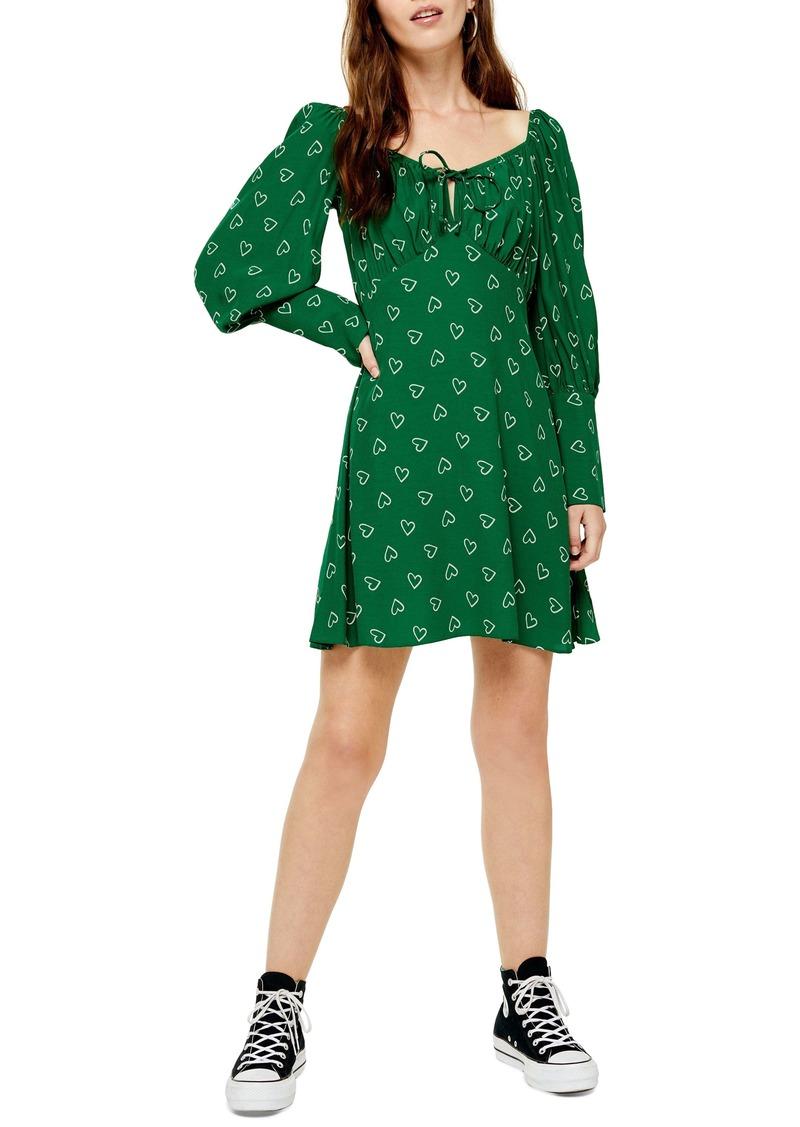 Topshop Prairie Heart Long Sleeve Minidress