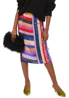Topshop Premium Rainbow Sequin Midi Skirt