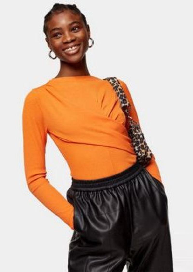 Topshop premium twist rib long sleeve top in orange