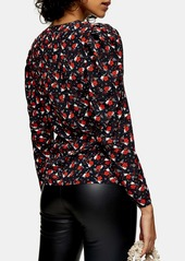 Topshop Print Belted Bouse