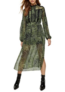 Topshop Print Long Sleeve Midi Dress