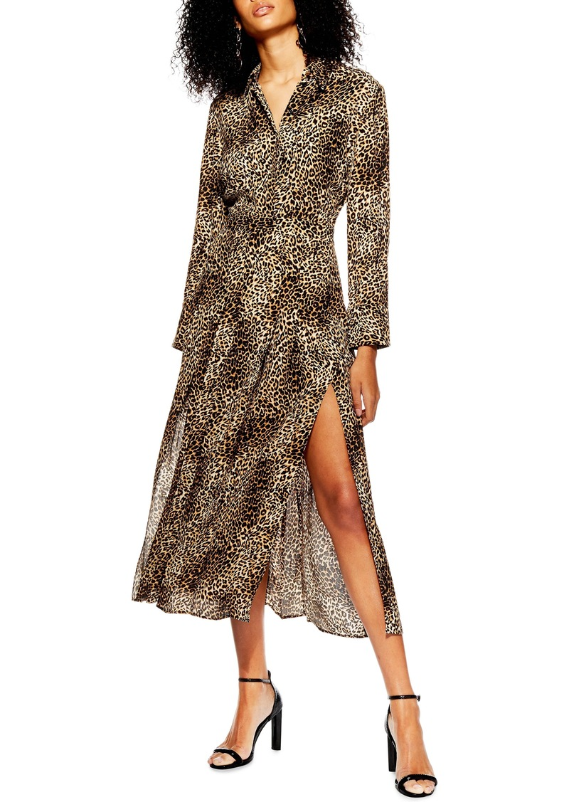 Topshop Print Pleated Shirtdress