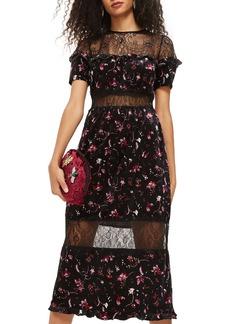 Topshop Print Velvet & Lace Midi Dress