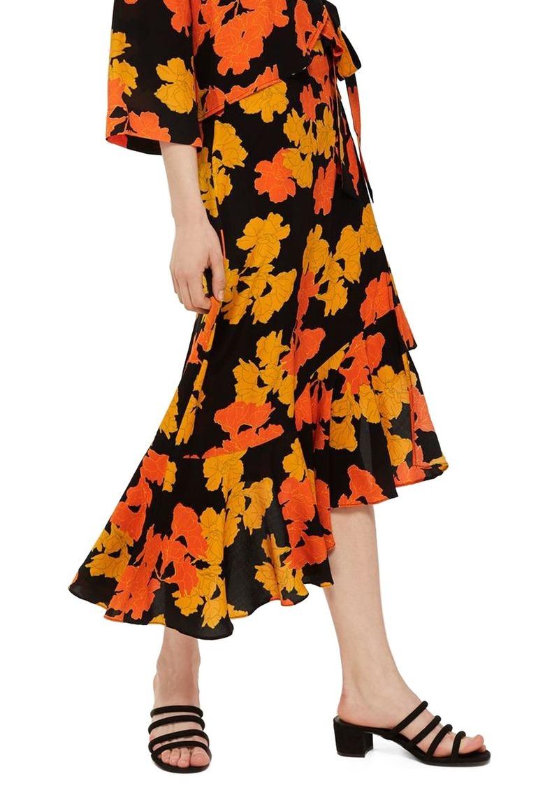 Topshop Printed Midi Skirt