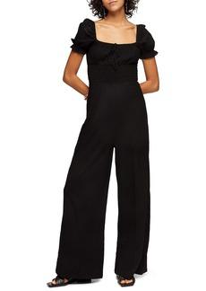 Topshop Puff Sleeve Cotton Jumpsuit