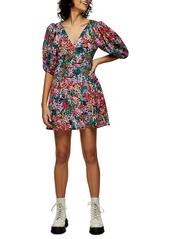 Topshop Puff Sleeve Floral Minidress