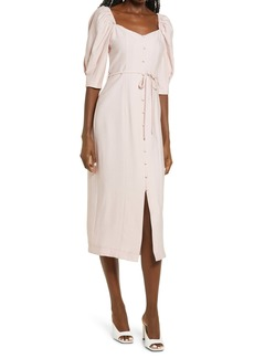 Topshop Puff Sleeve Linen Blend Midi Dress