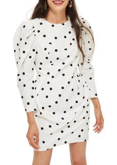 Topshop Puff Sleeve Polka Dot Minidress