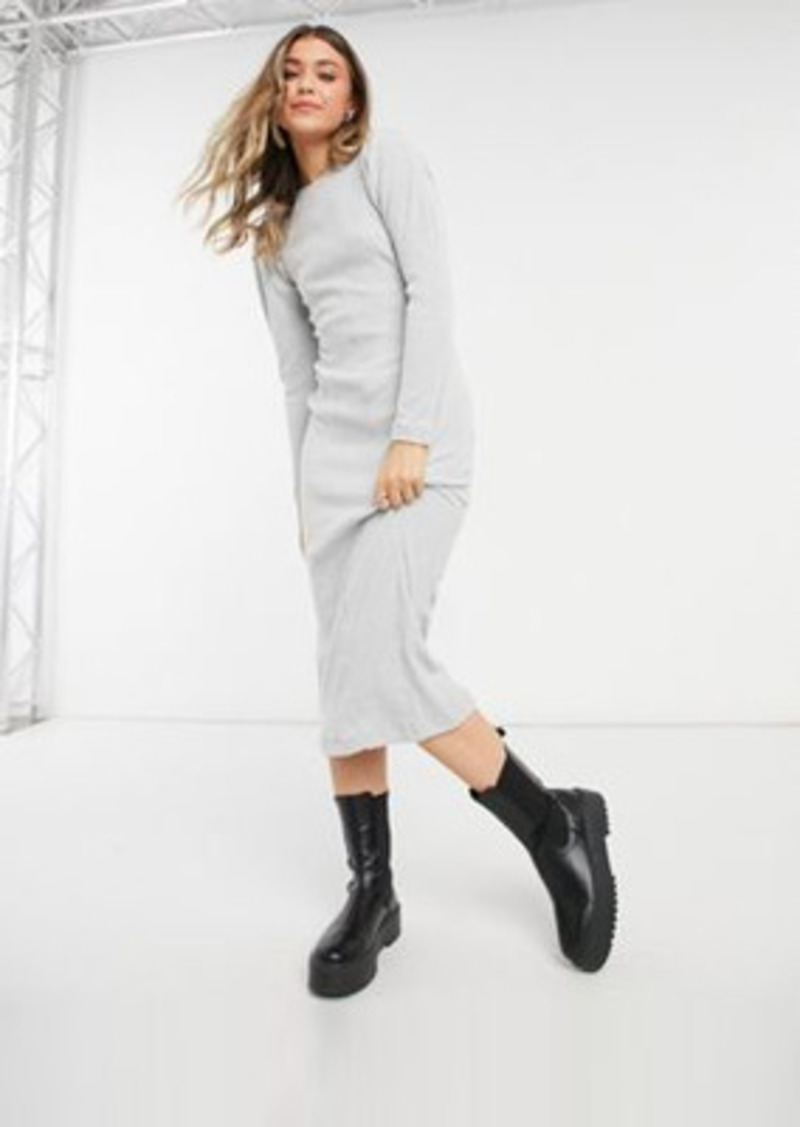 Topshop puff sleeve ribbed midi dress in gray heather