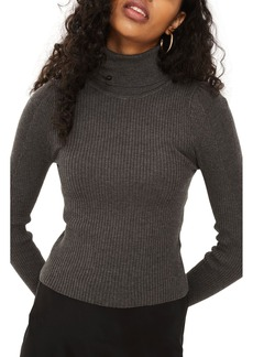 Topshop Puff Sleeve Ribbed Turtleneck