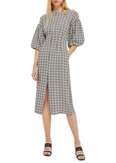 Topshop Puff Sleeve Sheath Dress