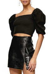 Topshop Puff Sleeve Square Neck Knit Crop Top