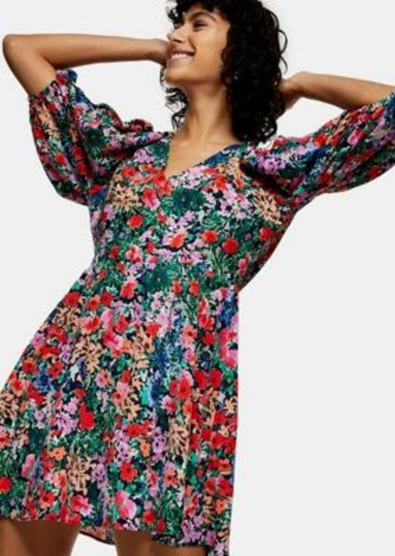 Topshop puff sleeve v-neck mini dress in bright florals