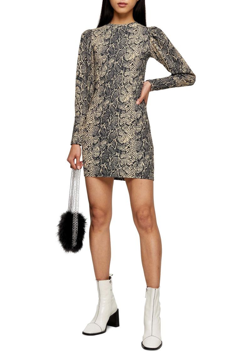 Topshop Puffed Shoulder Long Sleeve Minidress