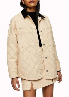 Topshop Quilted Denim Jacket
