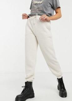Topshop quilted sweatpants in ecru