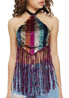 Topshop Rainbow Sequin Halter Top