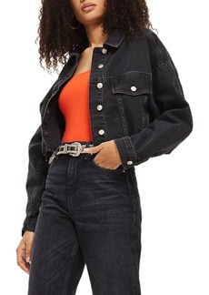 Topshop Raw Edge Crop Denim Jacket