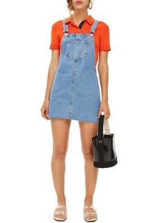 Topshop Raw Hem Denim Pinafore Dress (Petite)