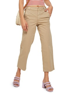 Topshop Raw Hem Straight Leg Chinos