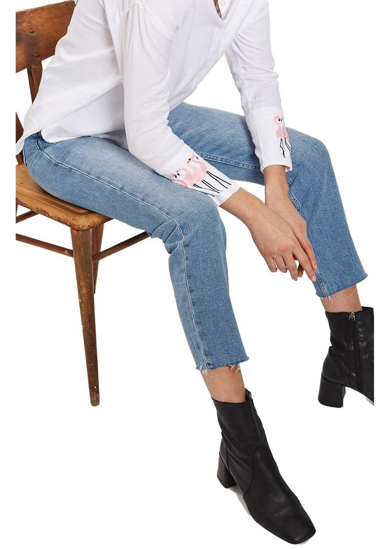 56bcf4e956e On Sale today! Topshop Topshop Raw Hem Straight Leg Jeans
