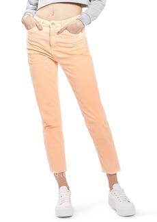 Topshop Raw Hem Straight Leg Jeans