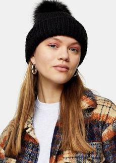 Topshop recycled bobble hat with faux fur pom pom in black