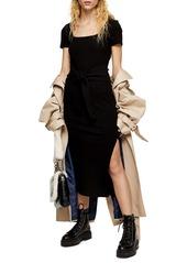 Topshop Rib Knit Tie Waist Maxi Dress