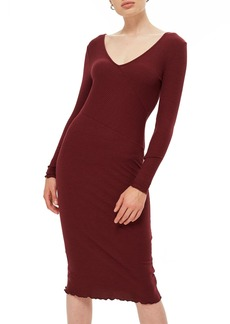 Topshop Ribbed Body-Con Midi Dress