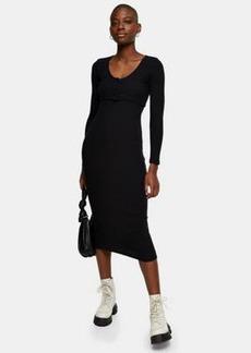 Topshop ribbed cardigan midi dress in black