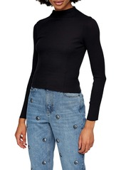 Topshop Ribbed Funnel Neck Cotton Top