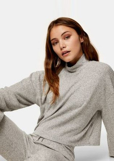 Topshop ribbed funnel neck top in gray