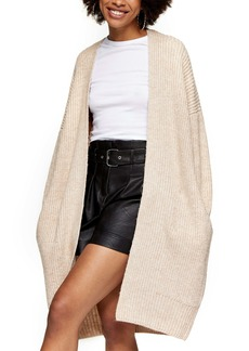 Topshop Ribbed Open Front Cardigan (Regular & Petite)