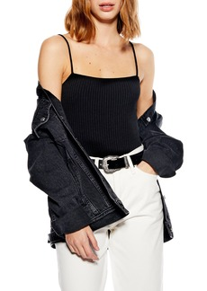 Topshop Ribbed Square Neck Bodysuit