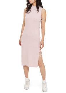 Topshop Ribbed Tie Slit Midi Dress