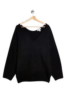 Topshop Ribbed V-Neck Longline Sweater