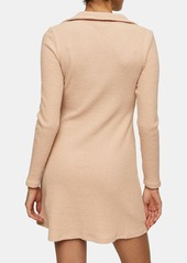 Topshop Ribbed V-Neck Minidress