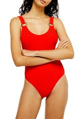 Topshop Ring Detail Smocked One-Piece Swimsuit