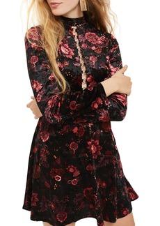 Topshop Ring Lace Up Floral Velvet Skater Dress